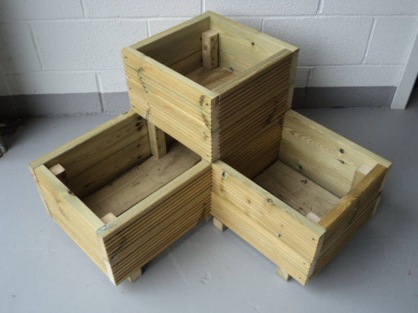 Budget L Shaped Corner Wooden Planters 2 Rows Of Decking