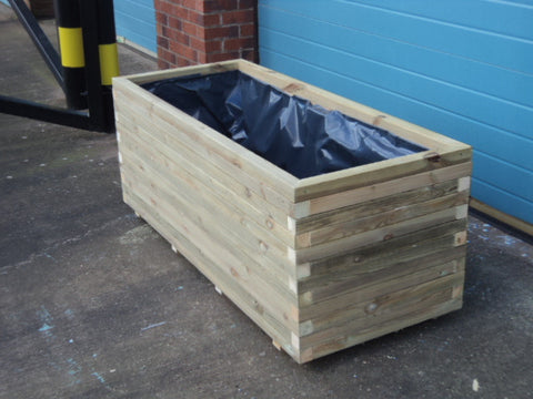 Block Style Trough Wooden Planters Extra Deep Extra Wide