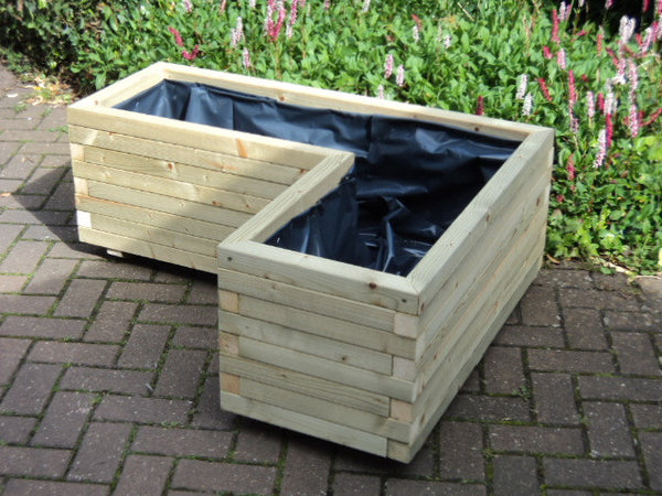 L Shaped Block Style Corner Wooden Planters Premier