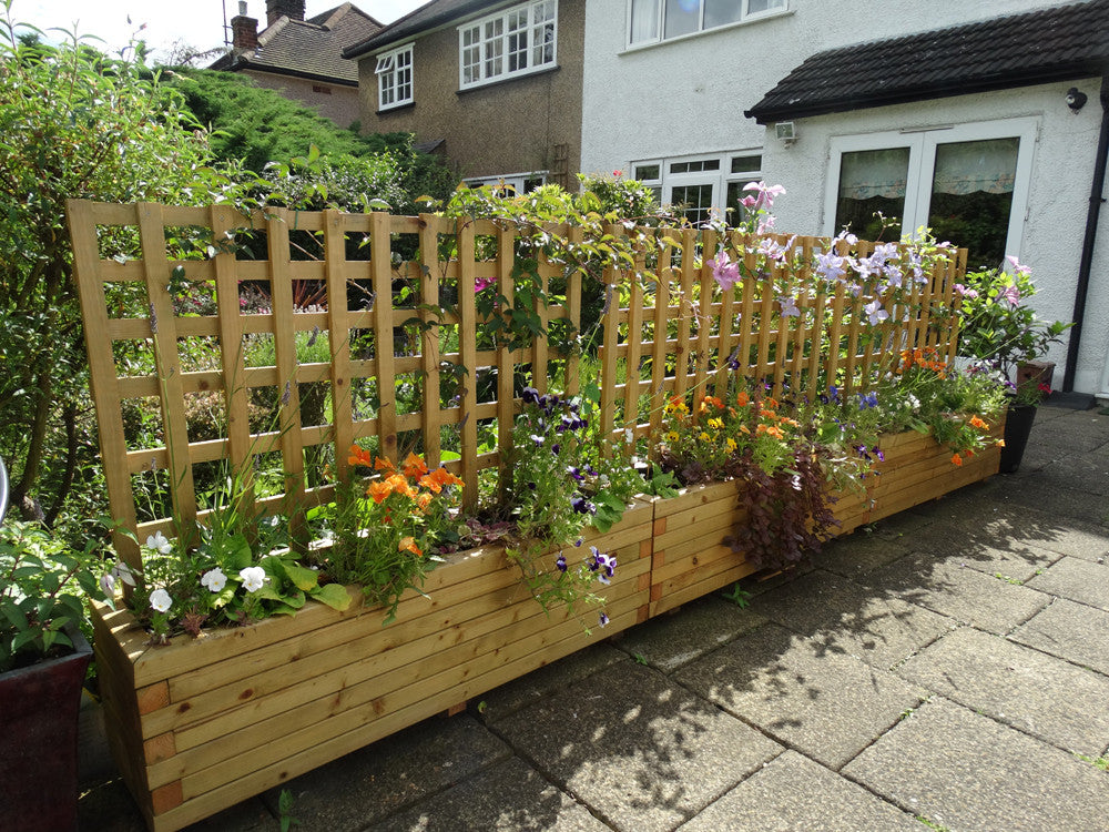 Block Style Trough Wooden Planters With Trellis Custom Sized