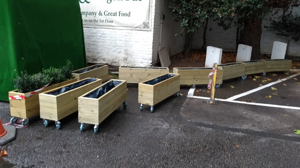 Wooden planters on wheels / casters (wooden trough planter, 3 rows on wooden garden trellis, wooden animals on wheels, planter box on wheels, wooden shelves on wheels, wooden frames on wheels, wooden boxes on wheels, chairs on wheels, rectangular planter on wheels, bird feeders on wheels, wooden planter boxes, home on wheels, raised beds on wheels, wooden trays on wheels, wooden garden furniture product, sheds on wheels, wooden toys on wheels, library shelves on wheels, gates on wheels, wooden cart, dog houses on wheels,