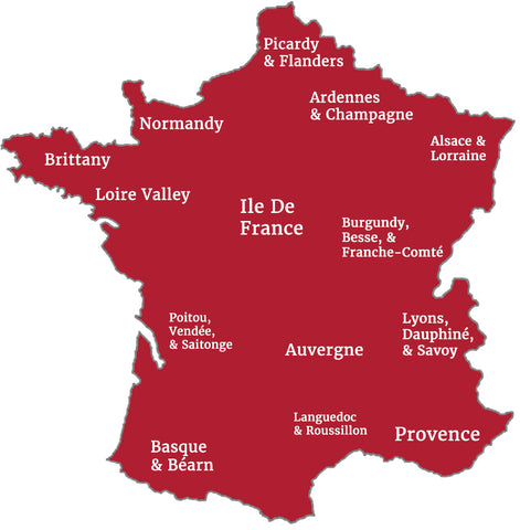 French Antiques Regions Map
