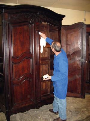 Terry restores another antique armoire in the French Metro collection