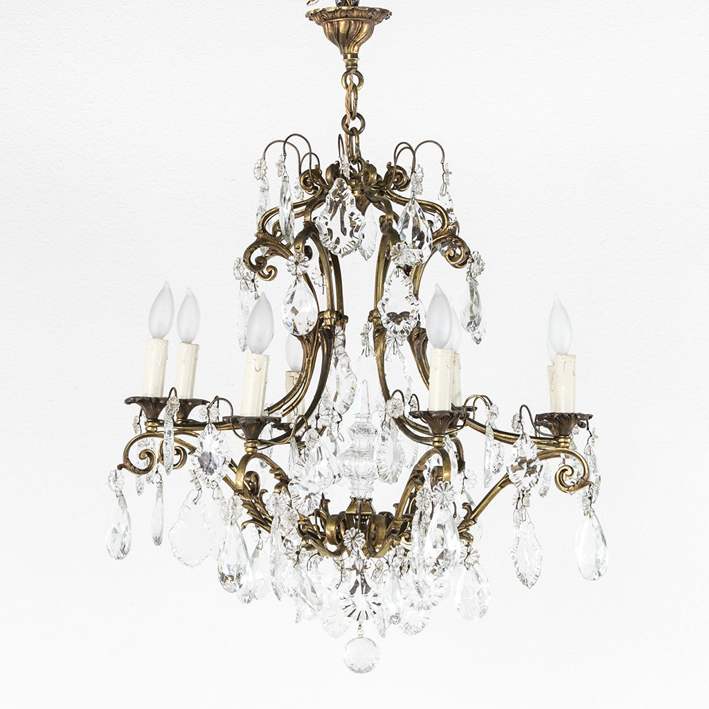 Crystal and bronze chandelier french metro antiques crystal and bronze chandelier mozeypictures Images