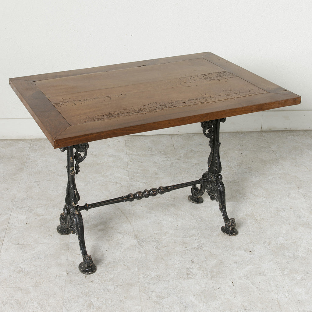 Iron And Walnut Bistro Table