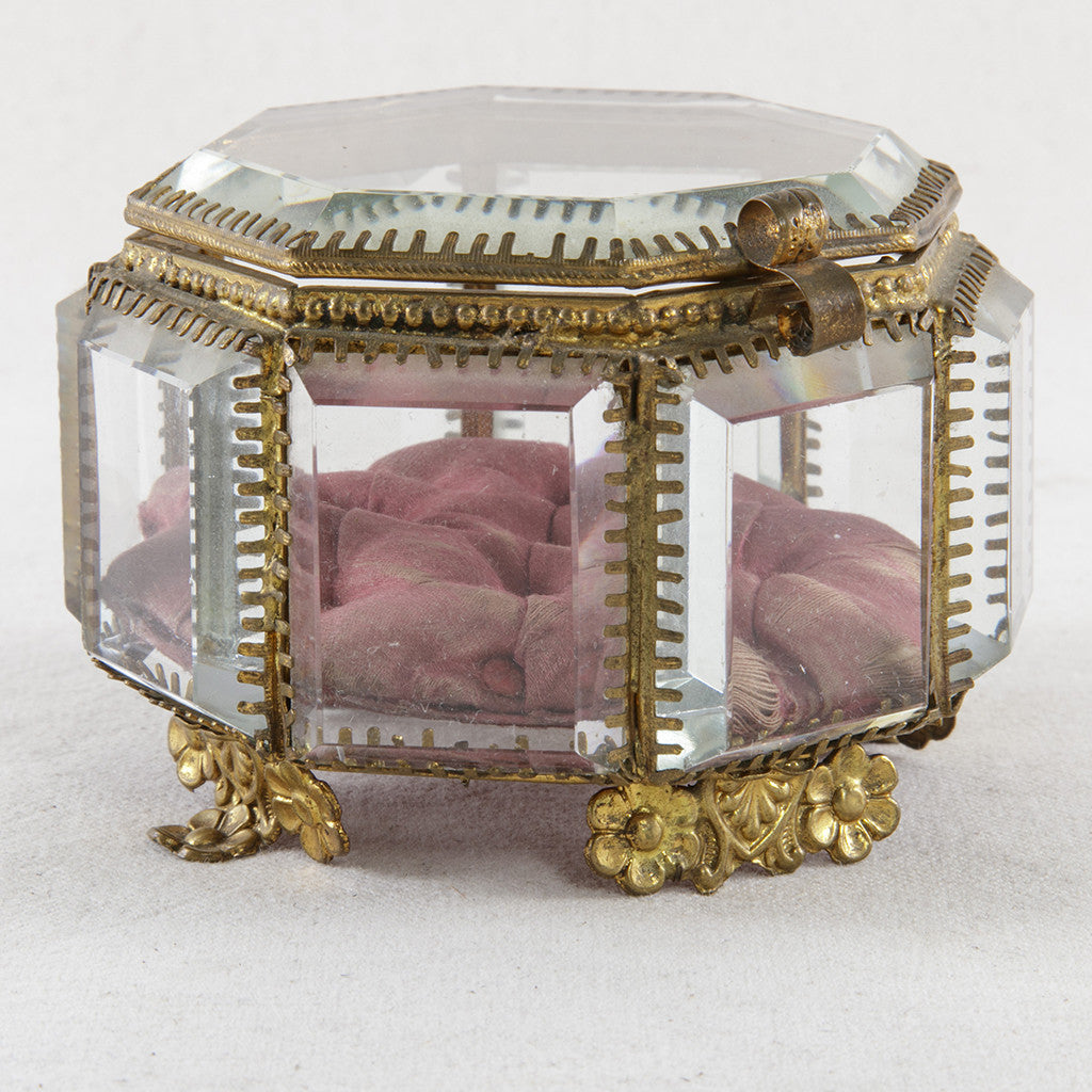 Crystal and Bronze Jewelry Box - French Metro Antiques