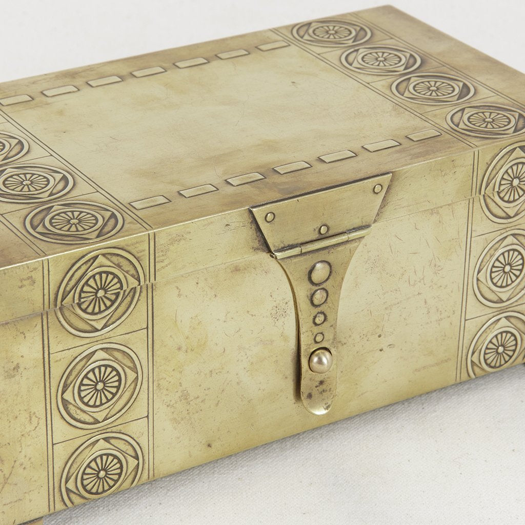 Art Nouveau Brass Chocolate Box - French Metro Antiques