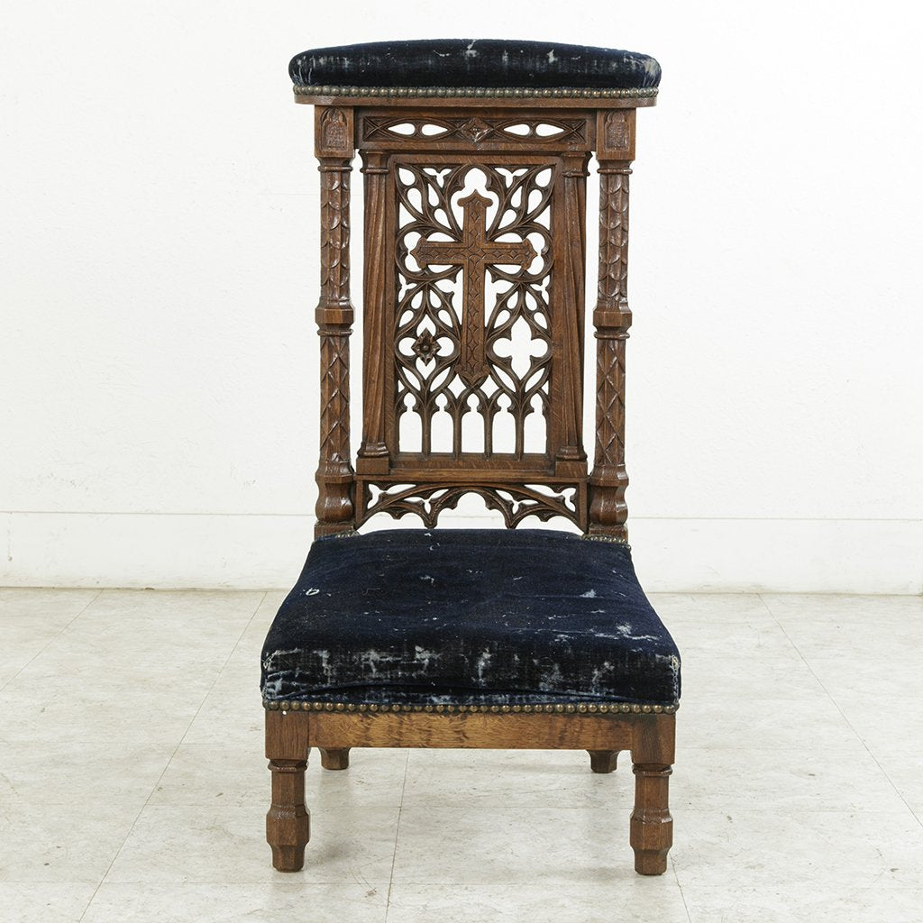 Hand Carved Prayer Chair - Hand Carved Prayer Chair - French Metro Antiques
