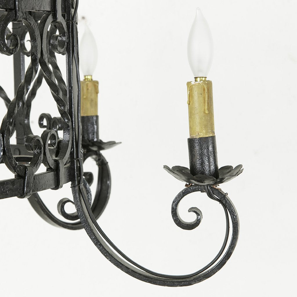 Hand forged iron chandelier french metro antiques hand forged iron chandelier arubaitofo Gallery