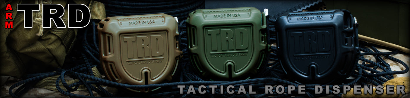 TRD Tactical rope dispenser in Red, Flat Dark Earth, and Olive Drab colors