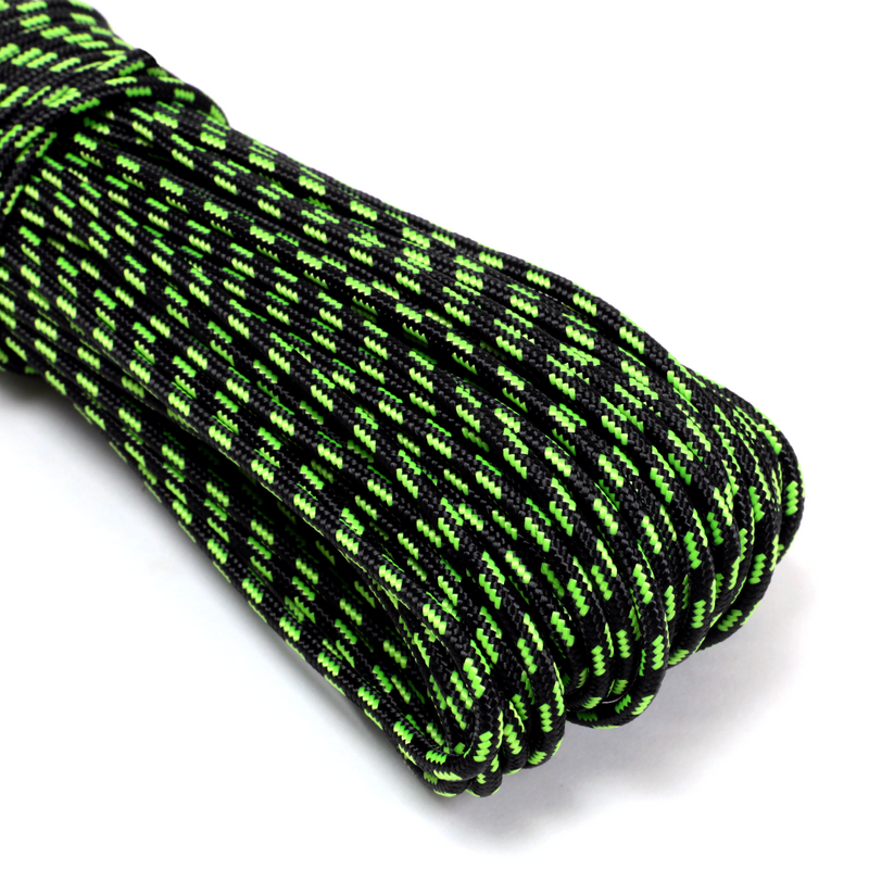 "1/8"" x 100ft 12 Strand Tactical - Black & Neon Green Tracer"