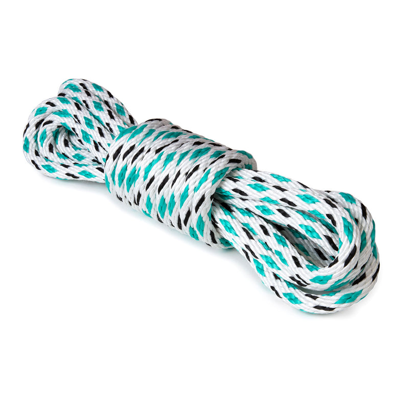 5/8 x 25ft Solid Braid Derby Line - White w/ Black Tracer & Teal Diamonds