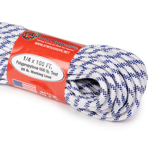 1/4 x 100ft - White w/ Royal Blue Tracer