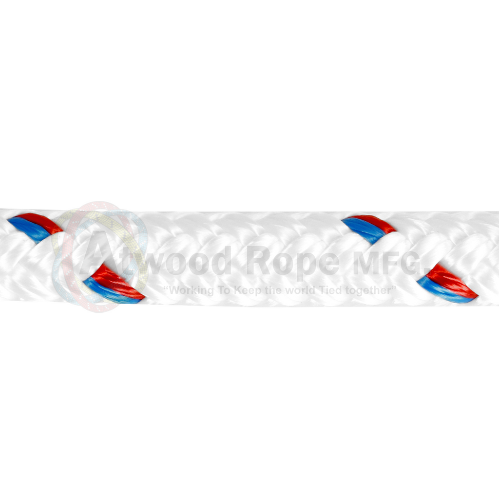3/4 x 150ft Bull Rope - White Red & Blue Tracer