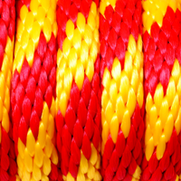 5/8 x 25ft Solid Braid Derby Line - Red & Yellow Striped