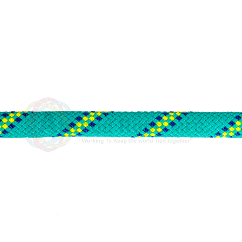 7/16 x 150ft Static Rappelling - Teal Neon Yellow & Blue