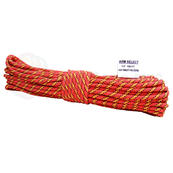 Polyester 1/4 x 100ft - Red, Yellow & Black Tracer