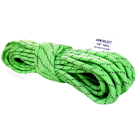 Polyester 3/8 x 100ft Neon Green w/ Black Tracer