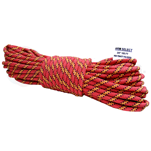 Polyester 3/8 x 100ft Red, Yellow & Black Tracer