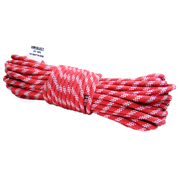 Polyester 3/8 x 100ft - Red w/ White Tracer