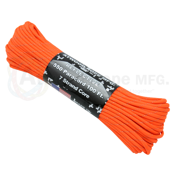 550 x 100ft Paracord Reflective Neon Orange