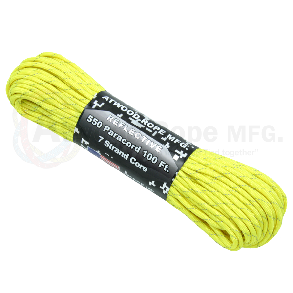 550 x 100ft Paracord Reflective Neon Yellow