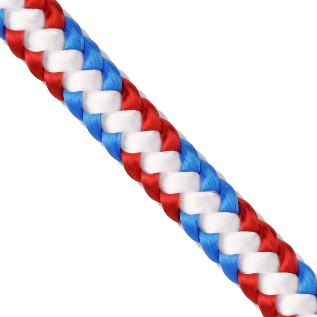"1/2"" Arborist Rope - White w/ Red & Blue Triple Tracer"