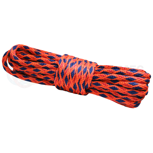 5/8 x 50ft Solid Braid Derby Line - Neon Orange w/ Red Tracer & Navy Diamonds