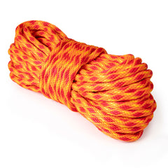 5/8 x 100ft Solid Braid Derby Line - Neon Orange w/ Yellow Tracer & Red Diamonds