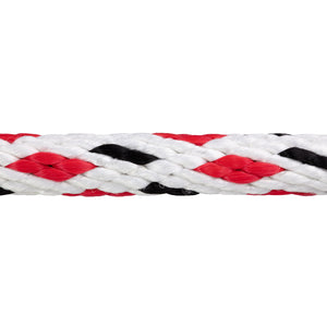5/8 x 25ft Solid Braid Derby Line - White w/ Black Tracer & Red Diamonds