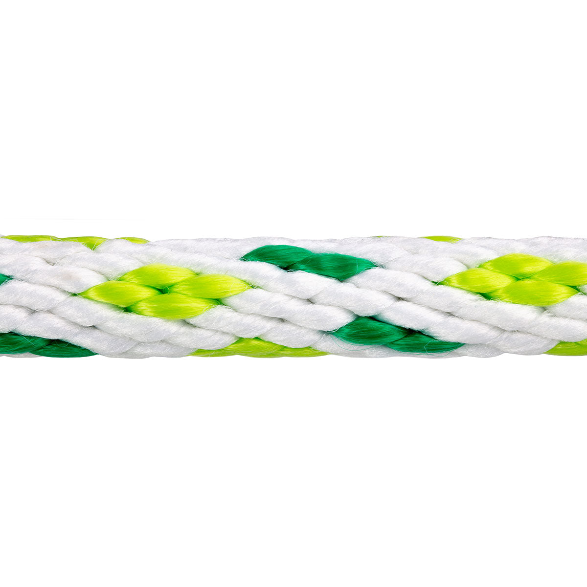 5/8 x 25ft Solid Braid Derby Line - White w/ Green Tracer & Neon Green Diamonds