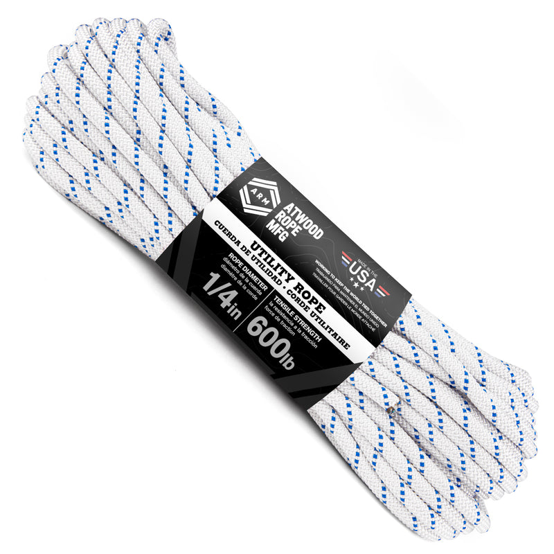 1/4 x 100ft - White w/ Single Blue Tracer