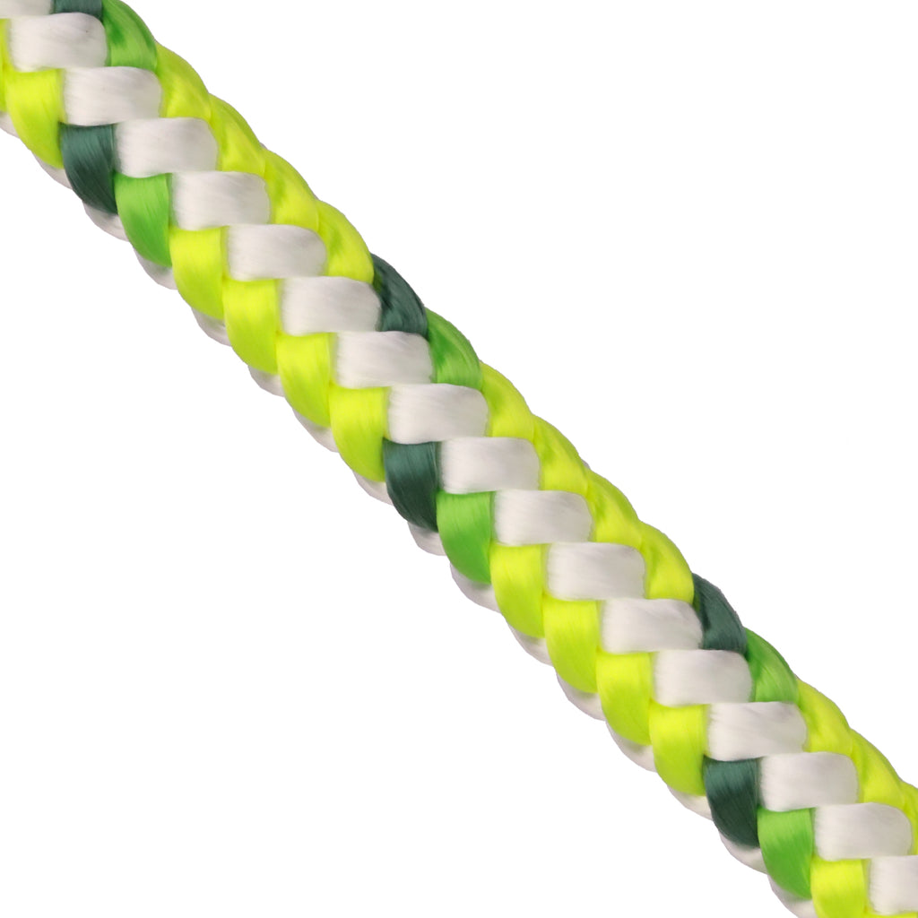 "1/2"" Arborist Rope - Neon Yellow & White w/ Hunter & Neon Green Tracer"