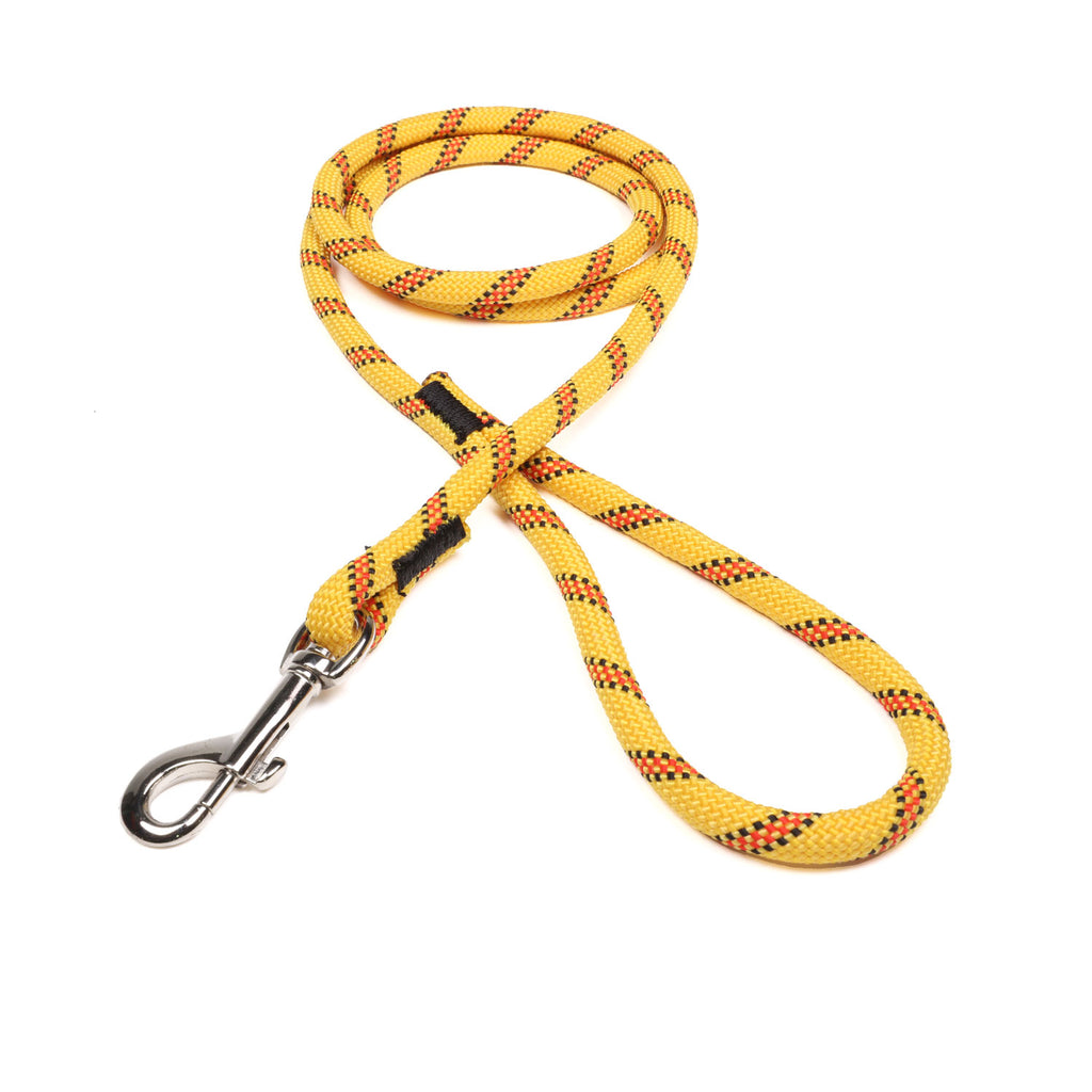 3/8 Yellow w/ Black & Red Tracer Rope Leash