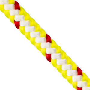 "1/2"" Arborist Rope - Neon Yellow & White w/ Red Tracer"