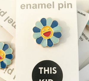 Blue Happy Flower - Enamel Pin