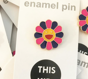 Pink Happy Flower - Enamel Pin