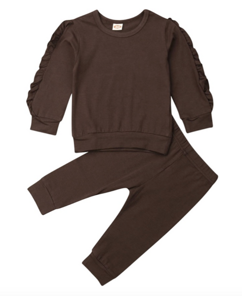 Ruffle Pyjamas Set - Top & Pants - Brown