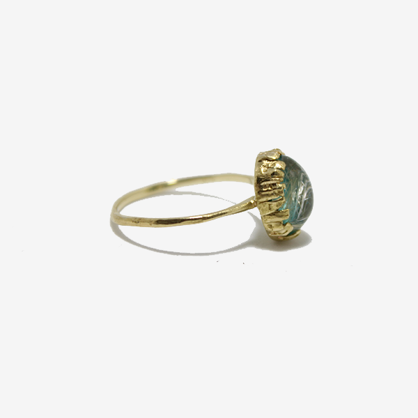 Nam 18k Gold Oval Rutile Quartz + Turquoise Ring