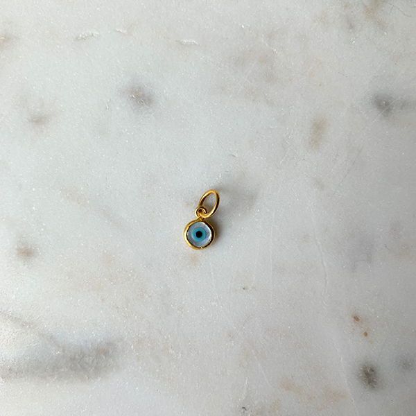 24k Gold Mother of Pearl Round Evil Eye Charm