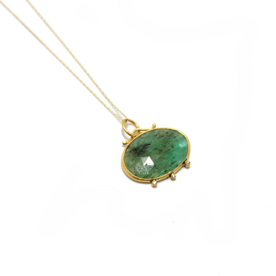 24k Emerald + Diamond Necklace