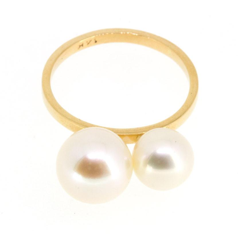 Poppy Finch 14k Gold Double Pearl Ring