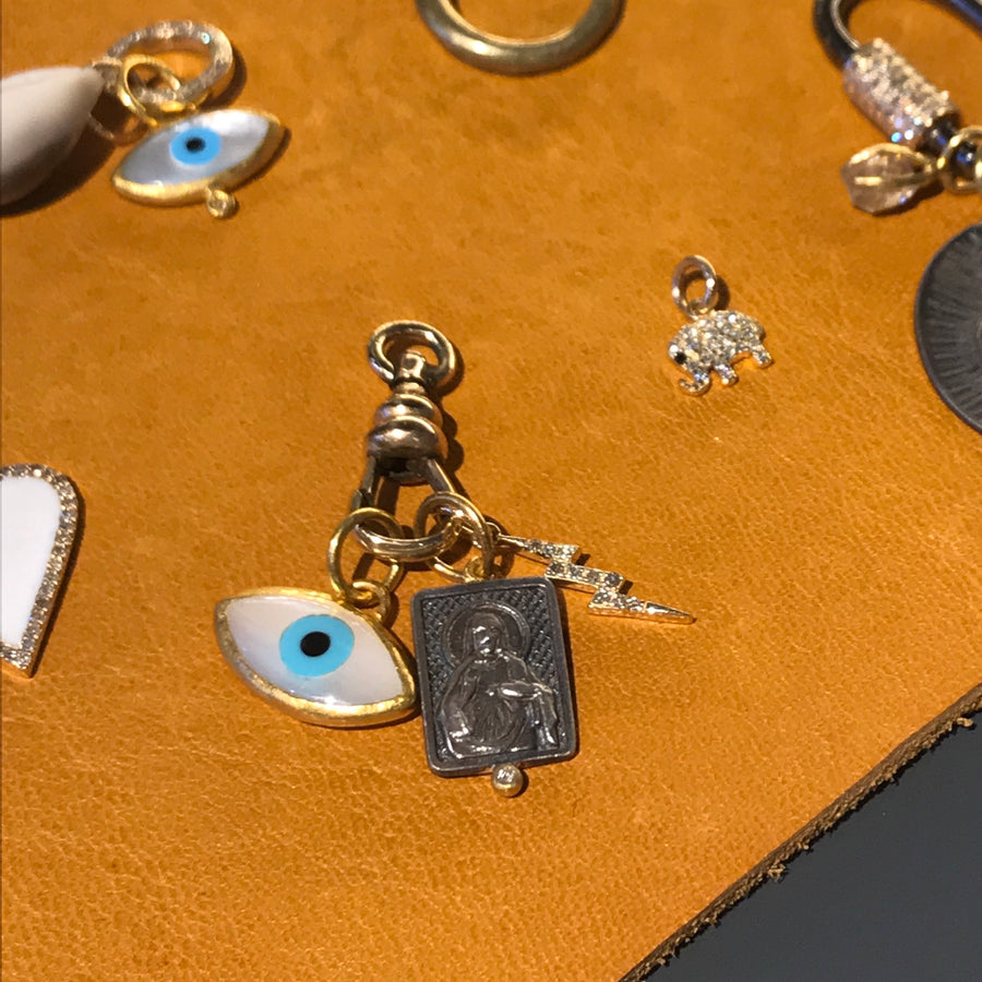 Gem Token Charm Collection Evil eye, religious pendant, gold lightning bolt