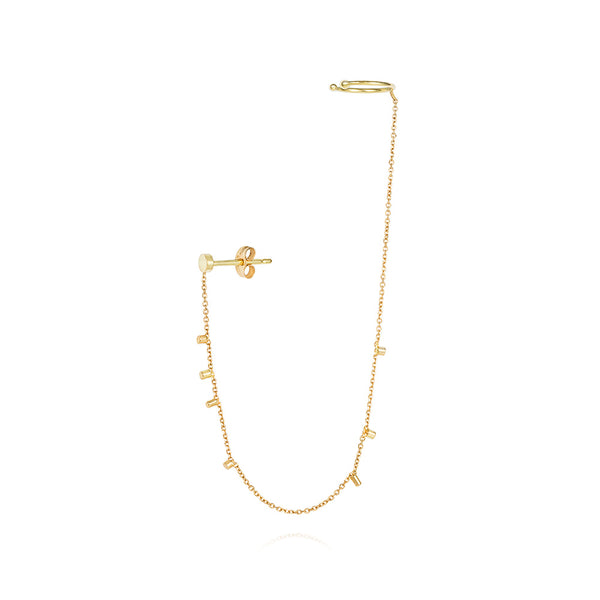 Sweet Pea 18k Stud + Cuff Gold Dust Earring