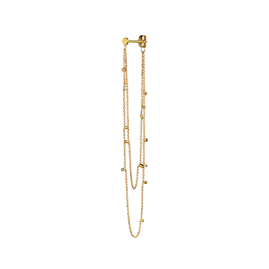 Sweet Pea 18k Double Strand Gold Dust Earring