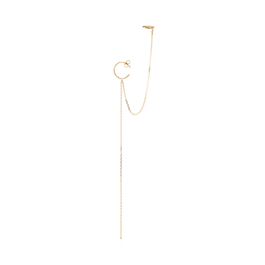 Sweet Pea 18k Hoop + Cuff Single Earring