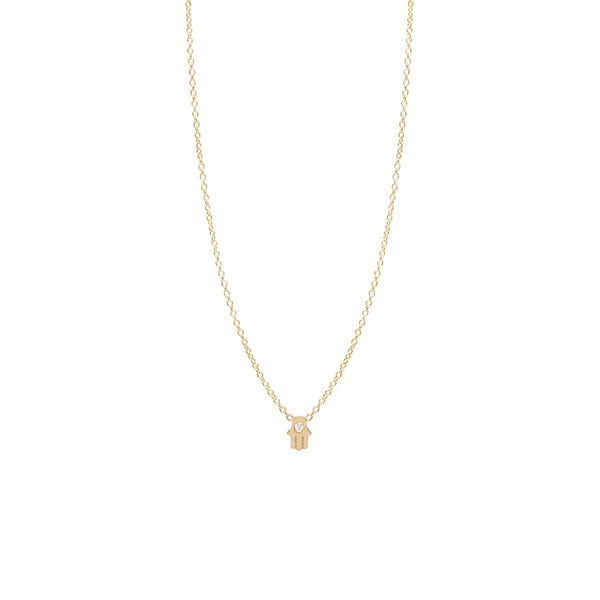 Zoe Chicco 14k Diamond Hamsa Necklace