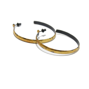 Acanthus Gold Sickle Wide Hoop Earrings
