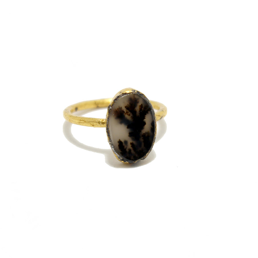 Acanthus Oval Picture Jasper Ring