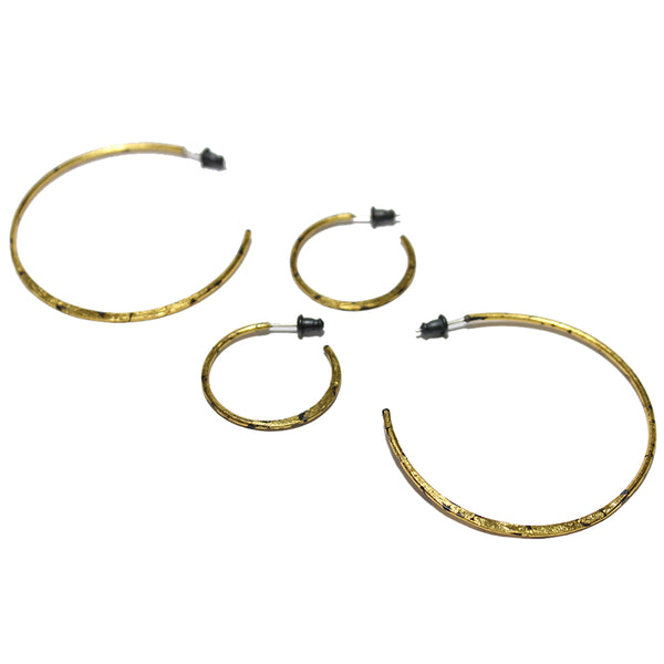 Acanthus Gold Sickle Hoop Earrings